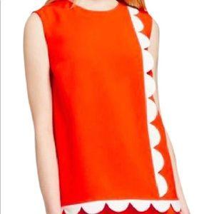 Victoria Beckham Orange White Scallop Trim Top